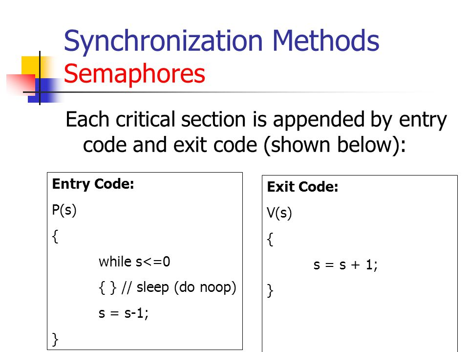 Synchronization Methods Semaphores