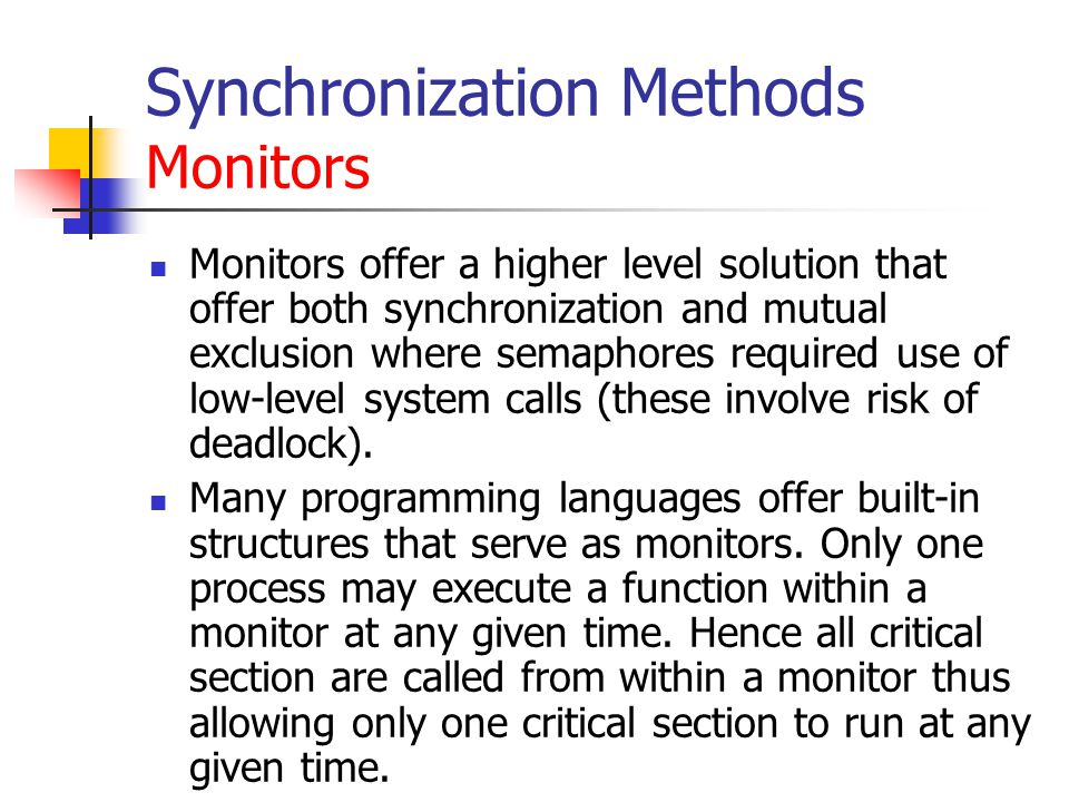 Synchronization Methods Monitors