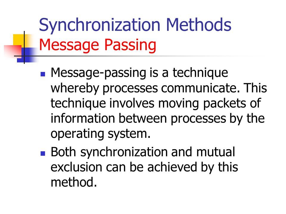 Synchronization Methods Message Passing