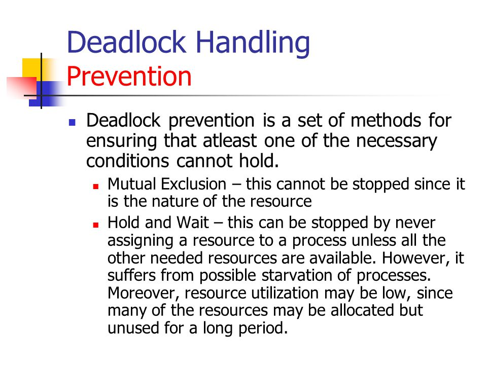 Deadlock Handling Prevention