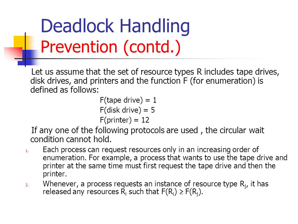 Deadlock Handling Prevention (contd.)