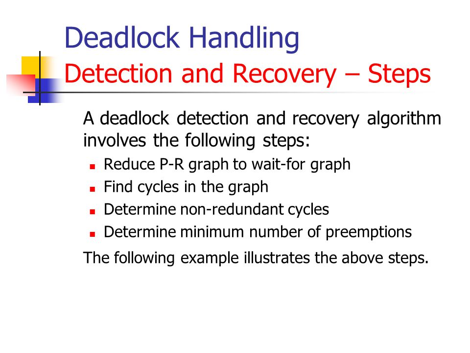 Deadlock Handling Detection and Recovery – Steps