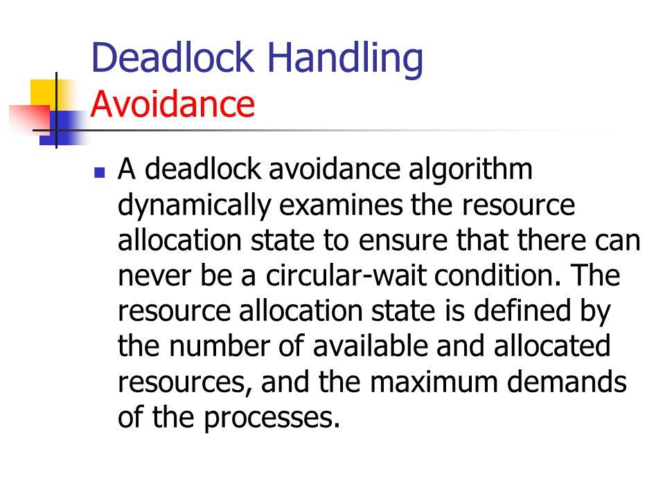 Deadlock Handling Avoidance