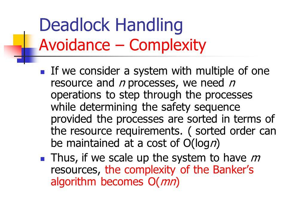 Deadlock Handling Avoidance – Complexity