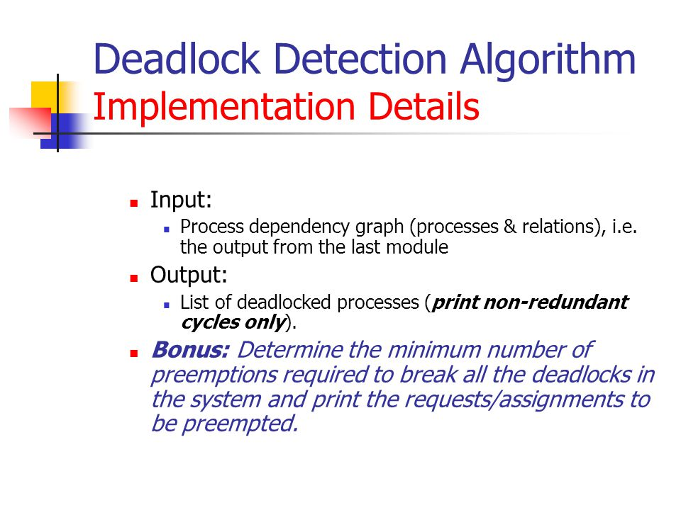 Deadlock Detection Algorithm Implementation Details