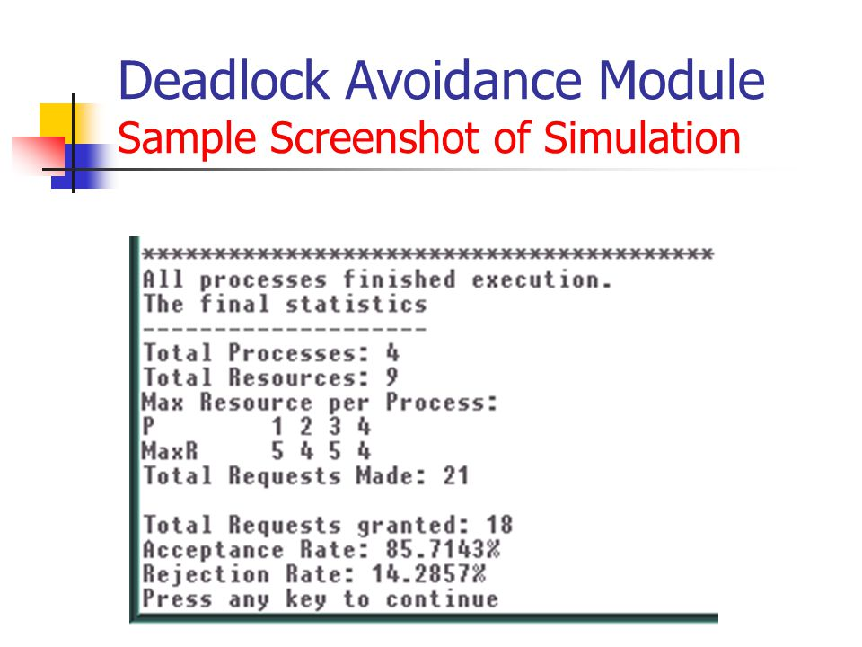 Deadlock Avoidance Module Sample Screenshot of Simulation