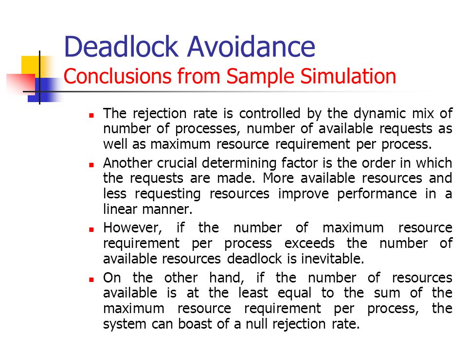 Deadlock Avoidance Conclusions from Sample Simulation