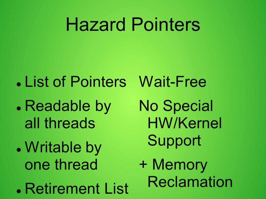 Hazard Pointers List of Pointers Readable by all threads