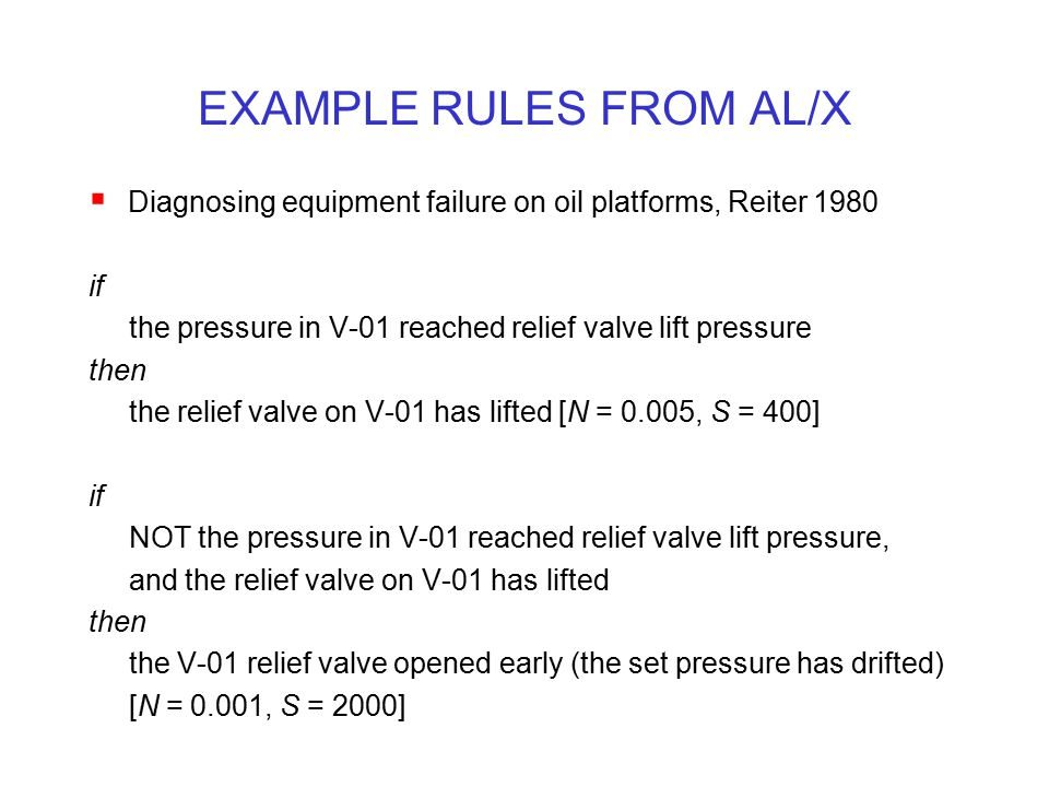 EXAMPLE RULES FROM AL/X
