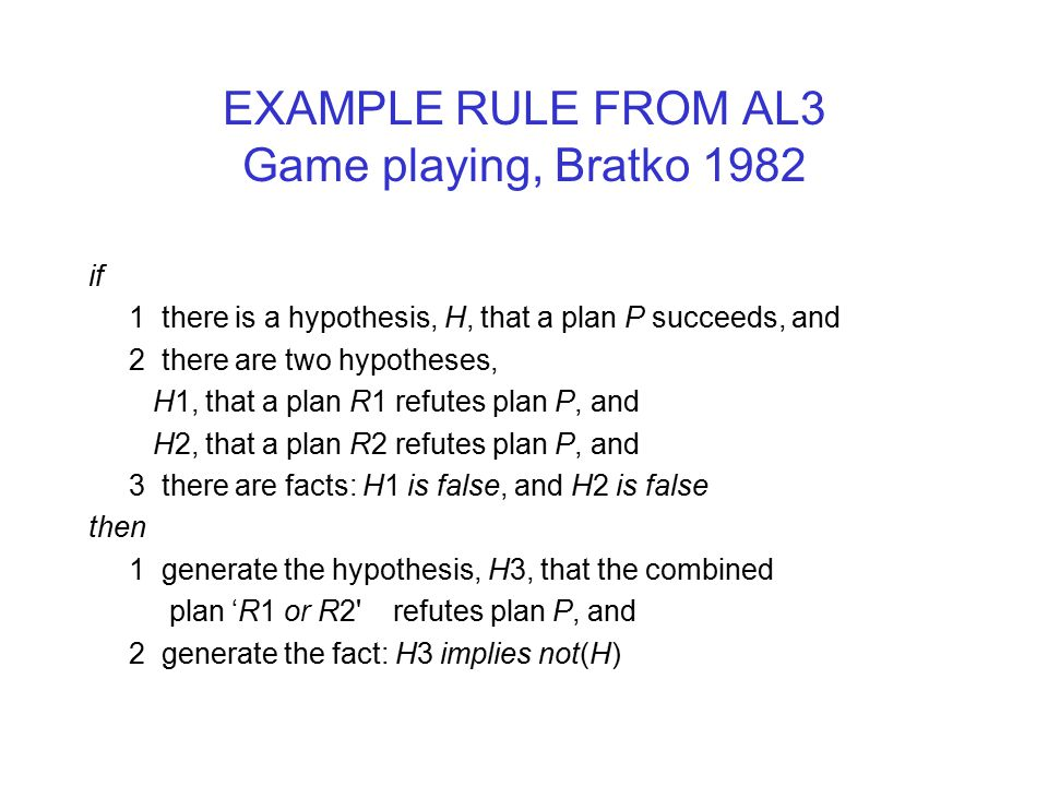 EXAMPLE RULE FROM AL3 Game playing, Bratko 1982