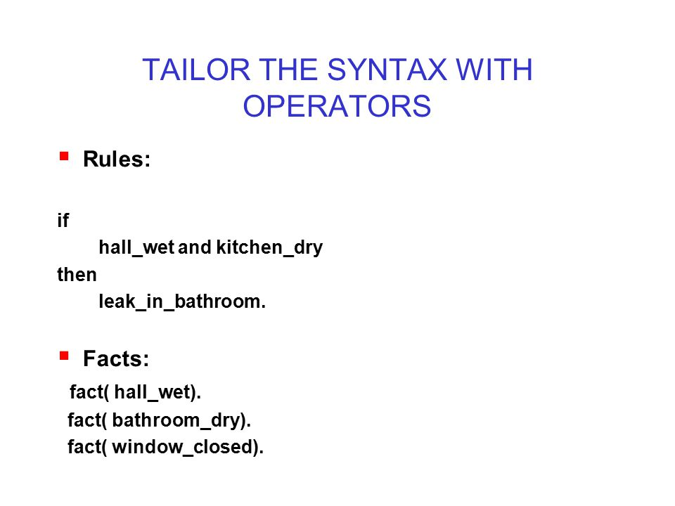 TAILOR THE SYNTAX WITH OPERATORS