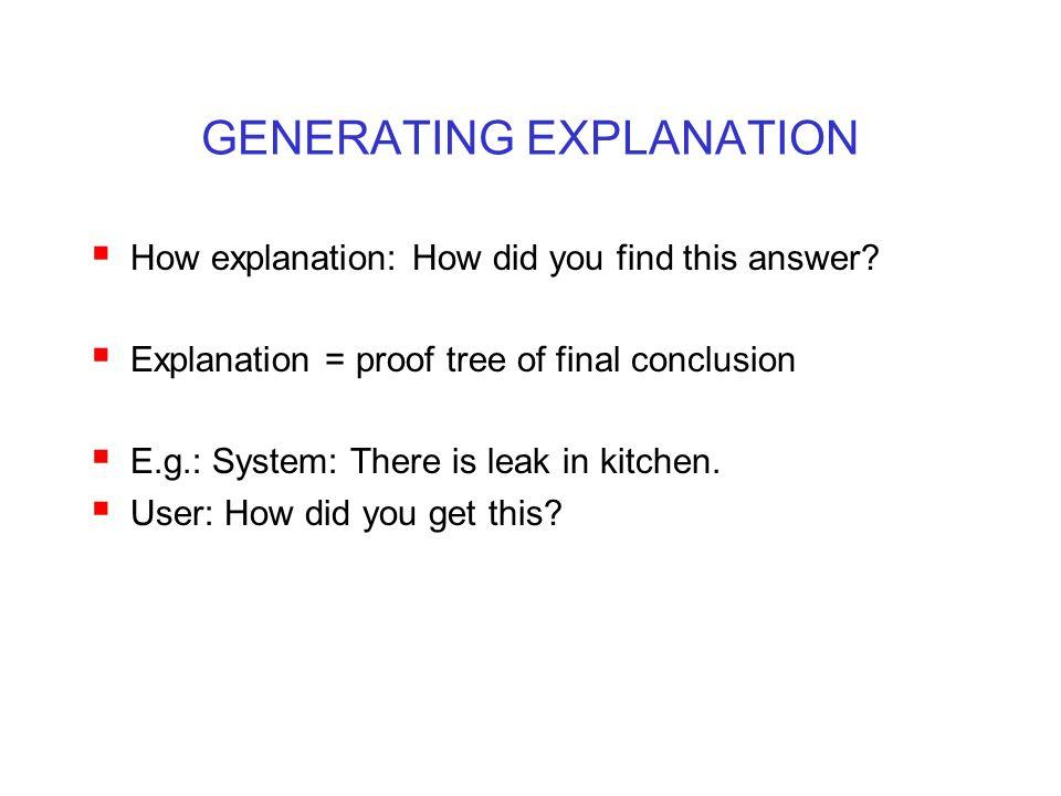 GENERATING EXPLANATION