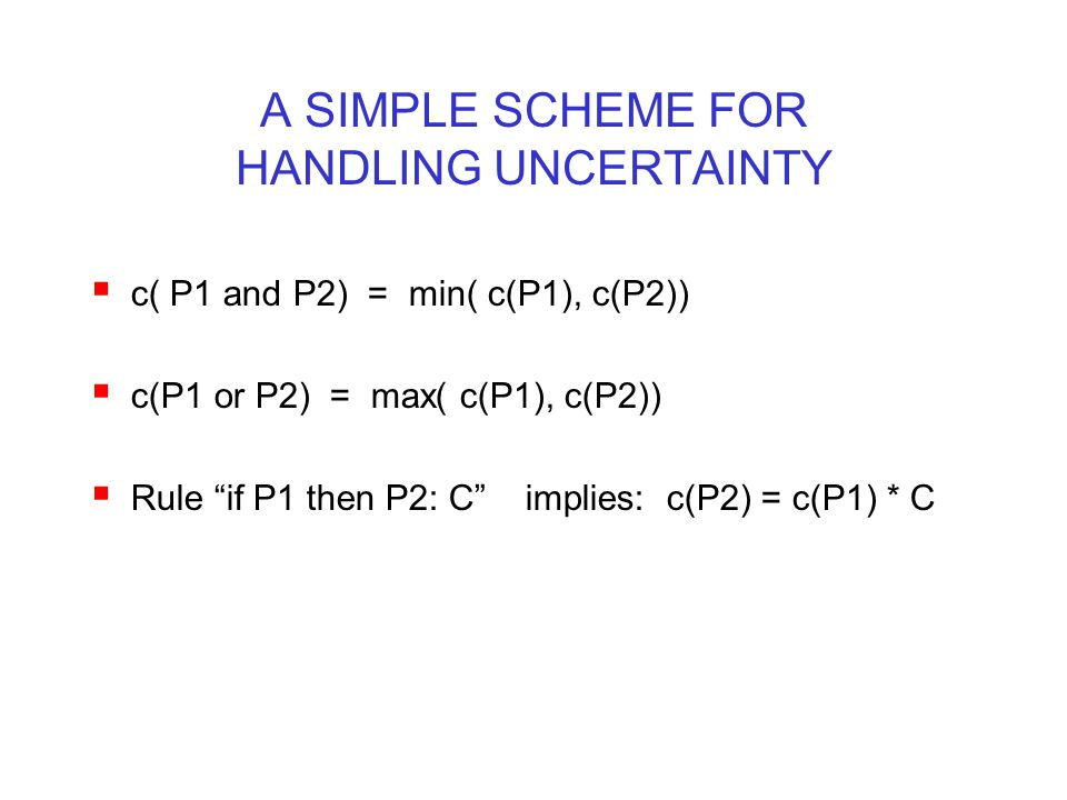 A SIMPLE SCHEME FOR HANDLING UNCERTAINTY