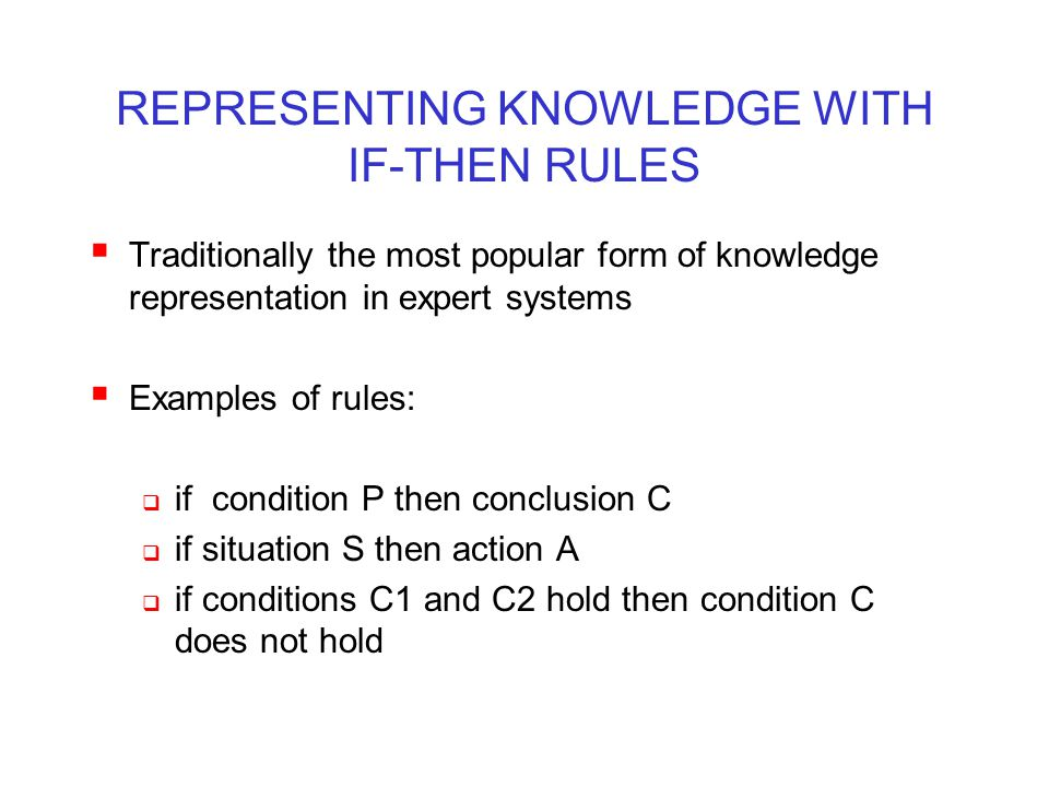 REPRESENTING KNOWLEDGE WITH IF-THEN RULES