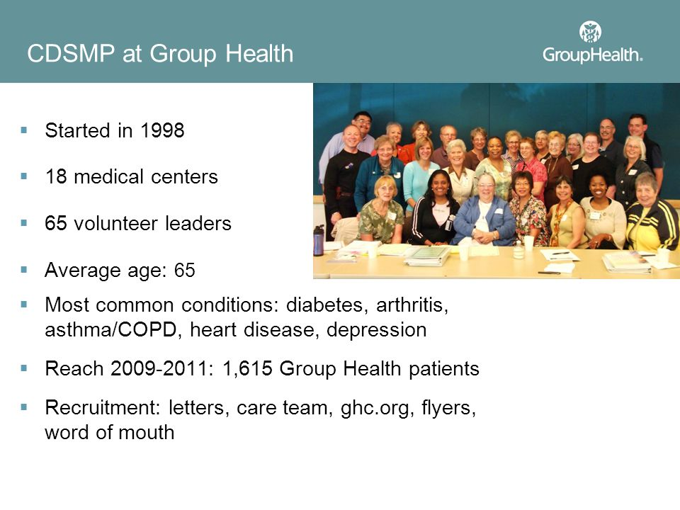 CDSMP at Group Health Started in 1998 18 medical centers