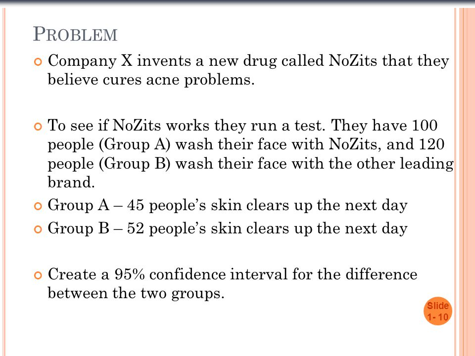 Problem Company X invents a new drug called NoZits that they believe cures acne problems.
