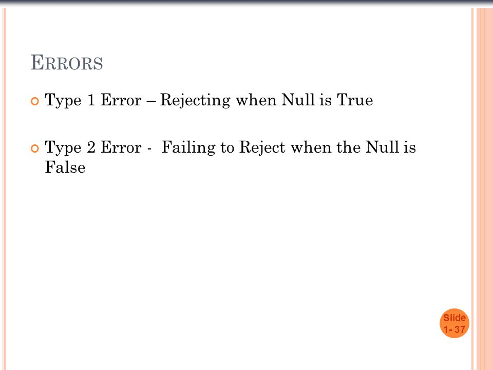 Errors Type 1 Error – Rejecting when Null is True