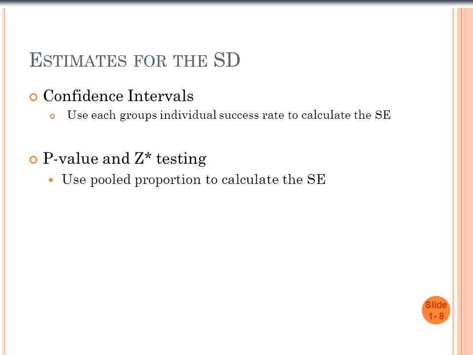 Estimates for the SD Confidence Intervals P-value and Z* testing