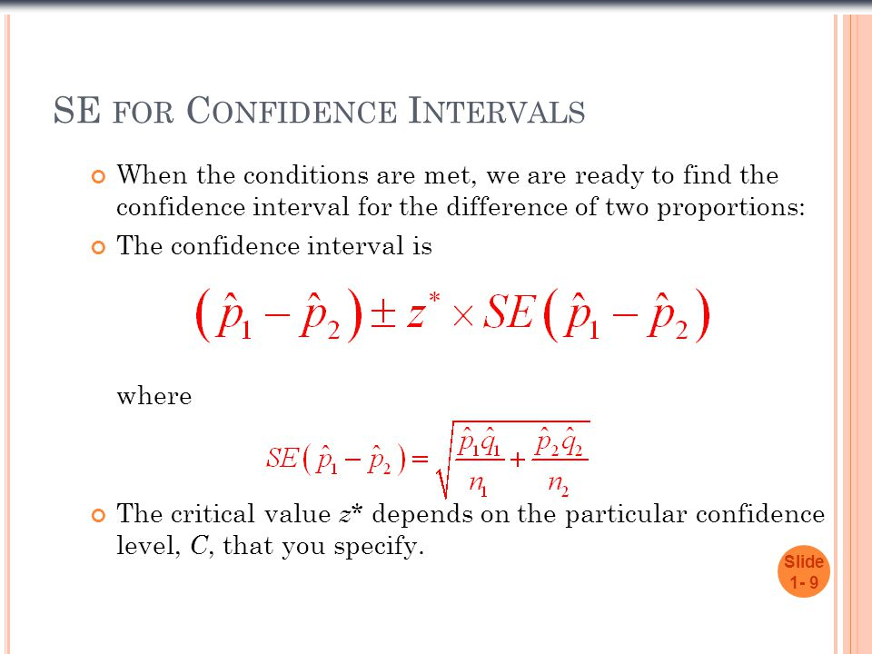 SE for Confidence Intervals