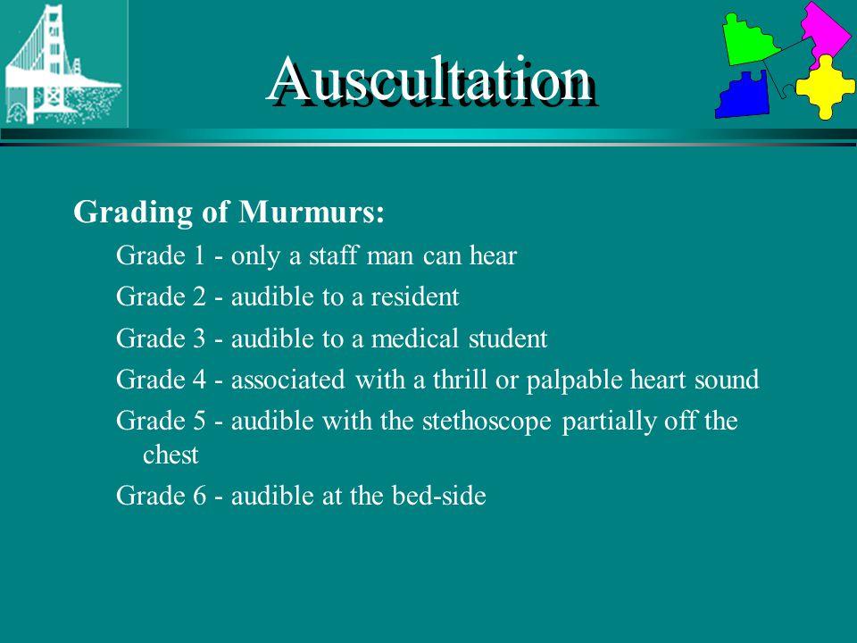 Auscultation Grading of Murmurs: Grade 1 - only a staff man can hear