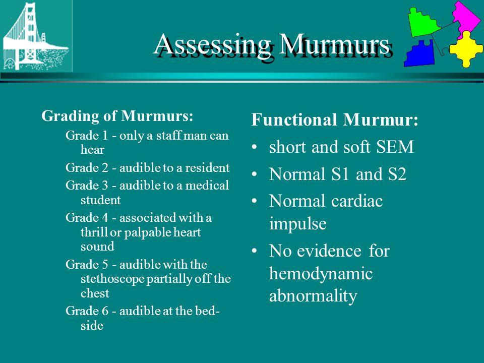 Assessing Murmurs Functional Murmur: short and soft SEM