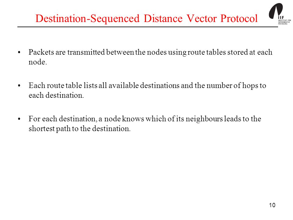 Destination-Sequenced Distance Vector Protocol