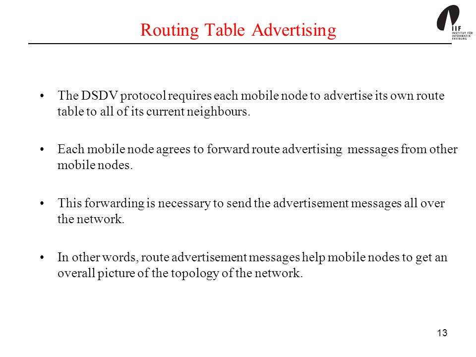 Routing Table Advertising