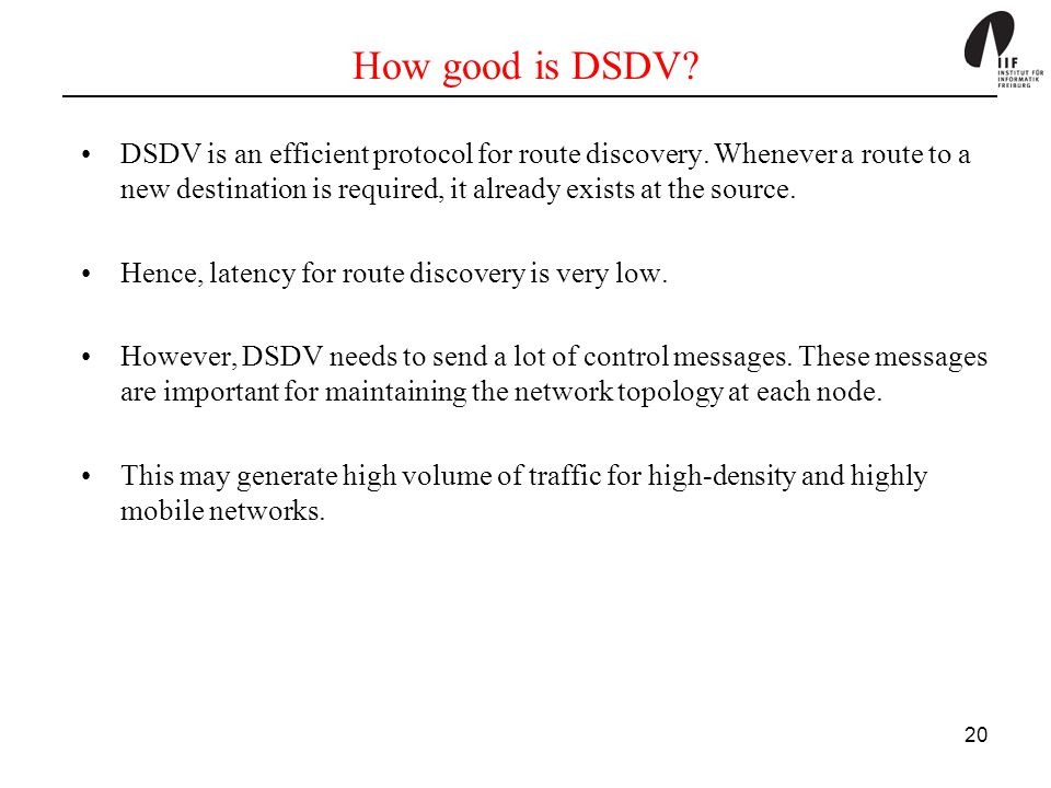 How good is DSDV