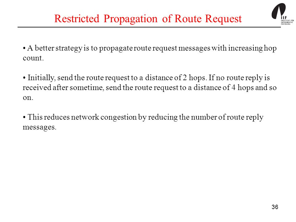 Restricted Propagation of Route Request