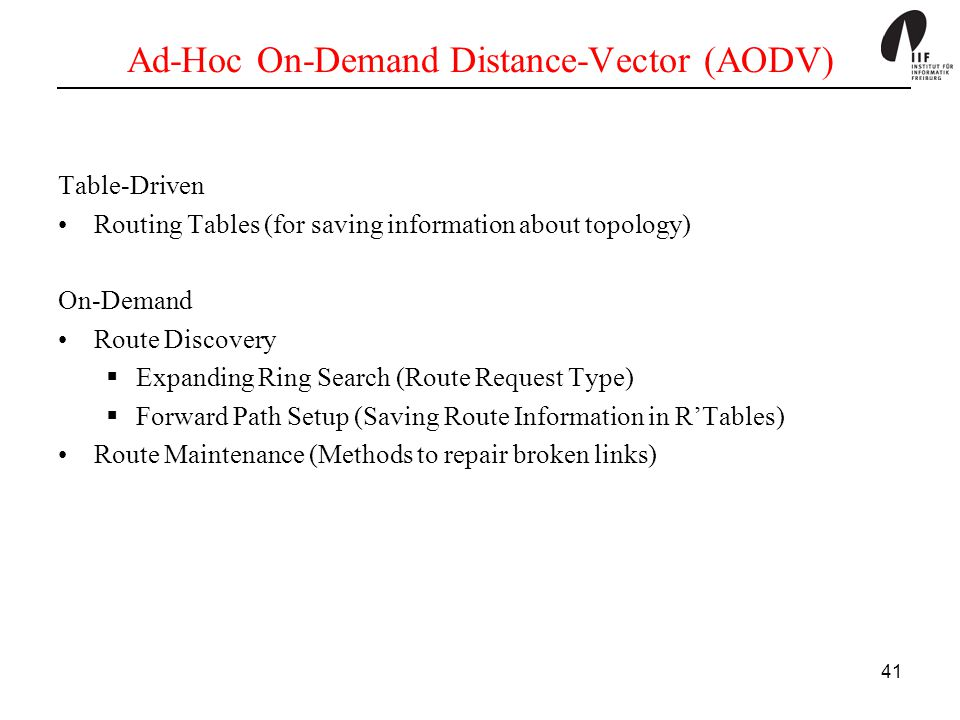 Ad-Hoc On-Demand Distance-Vector (AODV)