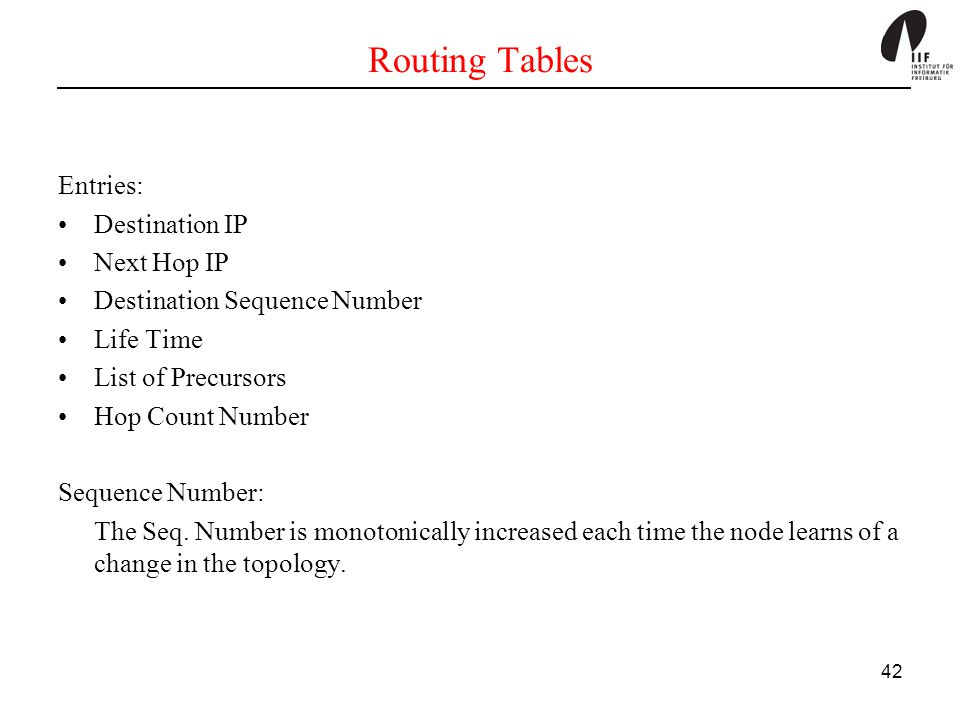Routing Tables Entries: Destination IP Next Hop IP