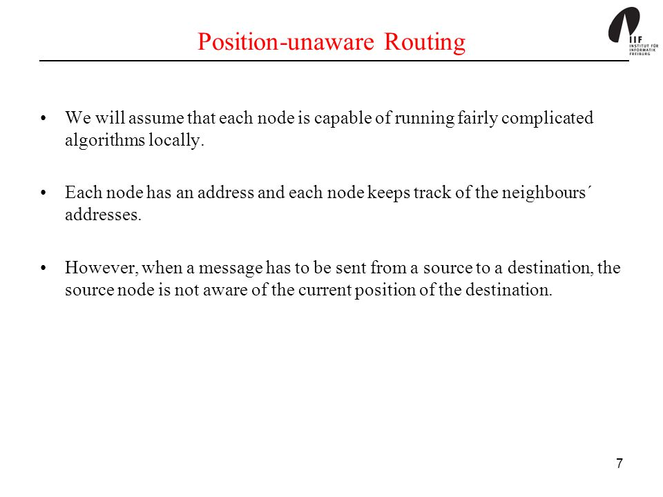 Position-unaware Routing