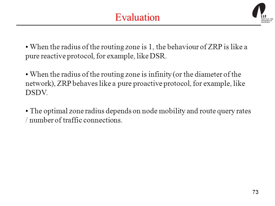 Evaluation When the radius of the routing zone is 1, the behaviour of ZRP is like a pure reactive protocol, for example, like DSR.