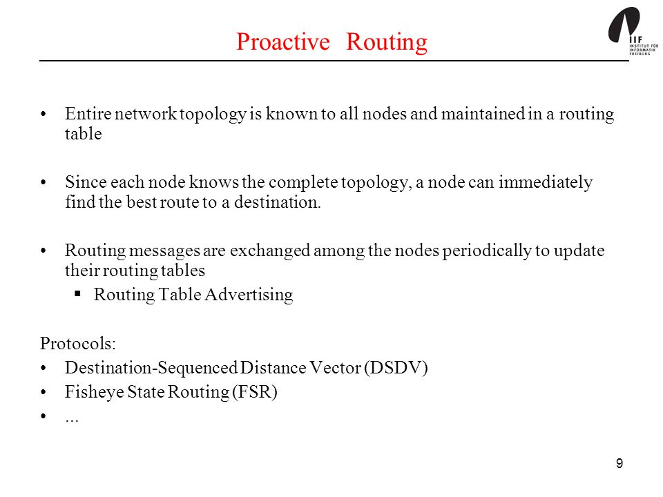 Proactive Routing Entire network topology is known to all nodes and maintained in a routing table.