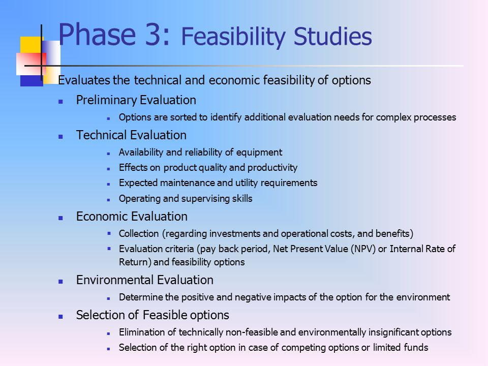 Phase 3: Feasibility Studies