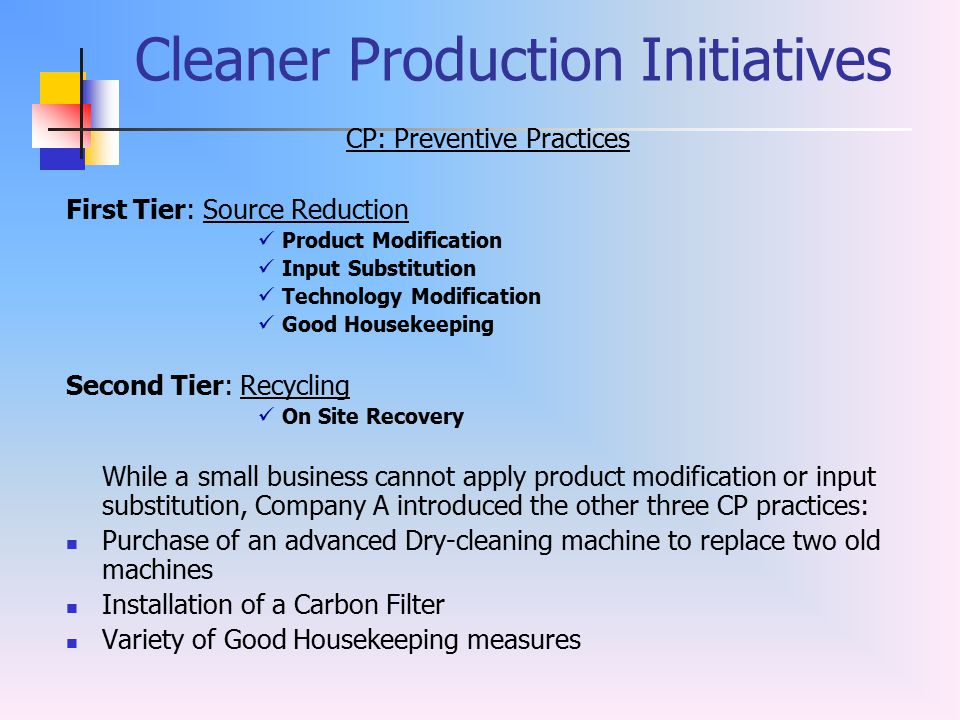 Cleaner Production Initiatives