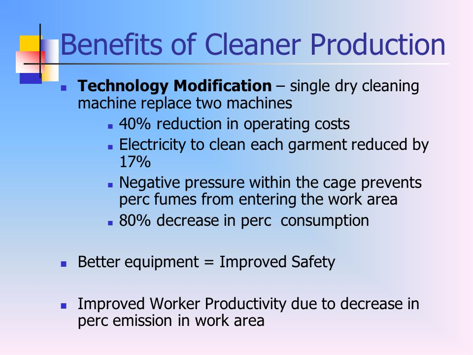Benefits of Cleaner Production
