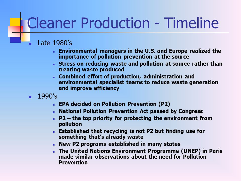 Cleaner Production - Timeline