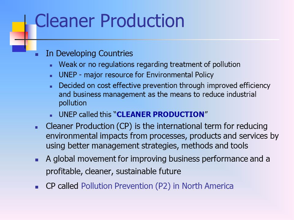 Cleaner Production In Developing Countries