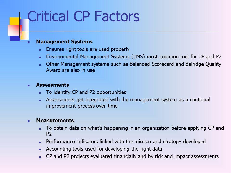 Critical CP Factors Management Systems