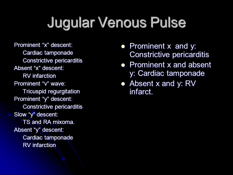 Jugular Venous Pulse Prominent x and y: Constrictive pericarditis