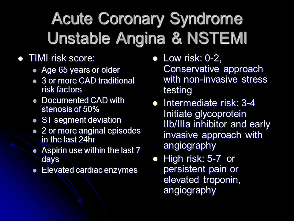 Acute Coronary Syndrome Unstable Angina & NSTEMI