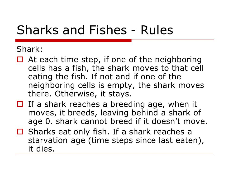Sharks and Fishes - Rules