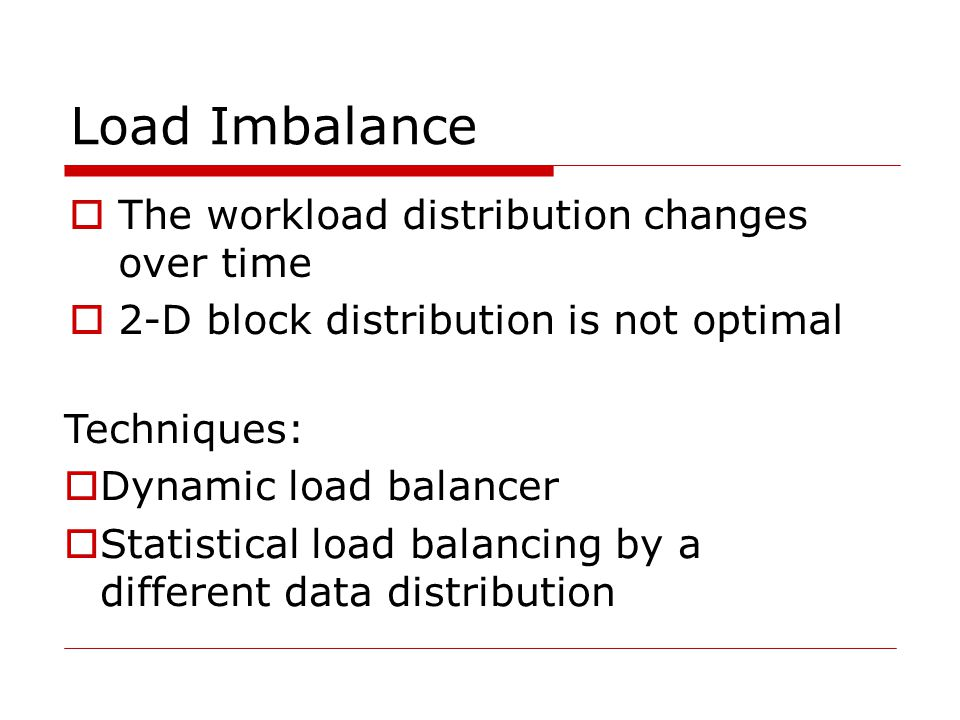 Load Imbalance The workload distribution changes over time