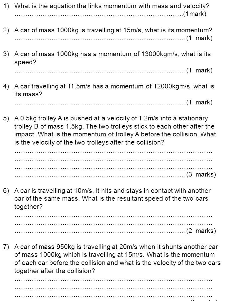 What is the equation the links momentum with mass and velocity