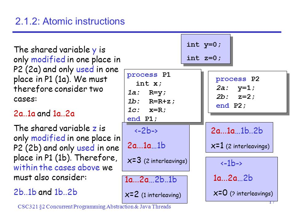 2.1.2: Atomic instructions int y=0; int z=0;
