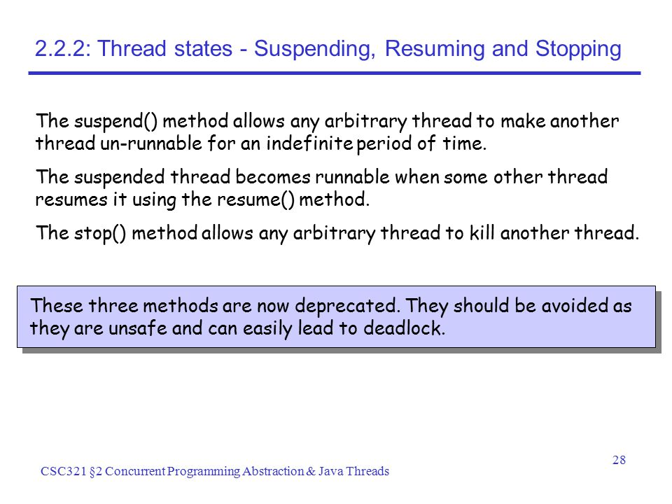 2.2.2: Thread states - Suspending, Resuming and Stopping