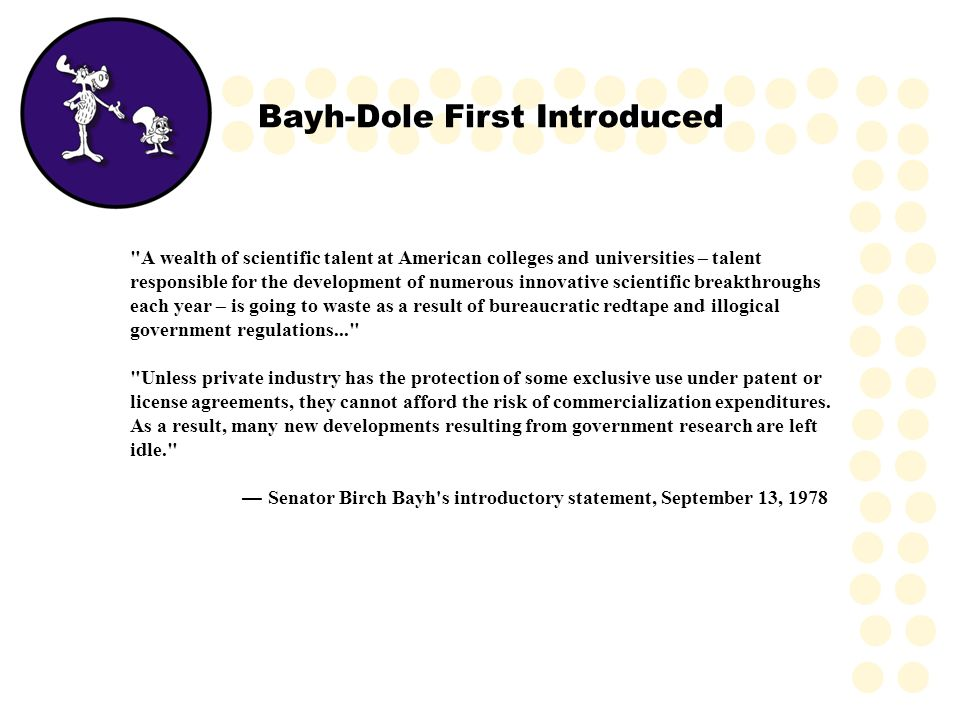 Bayh-Dole First Introduced