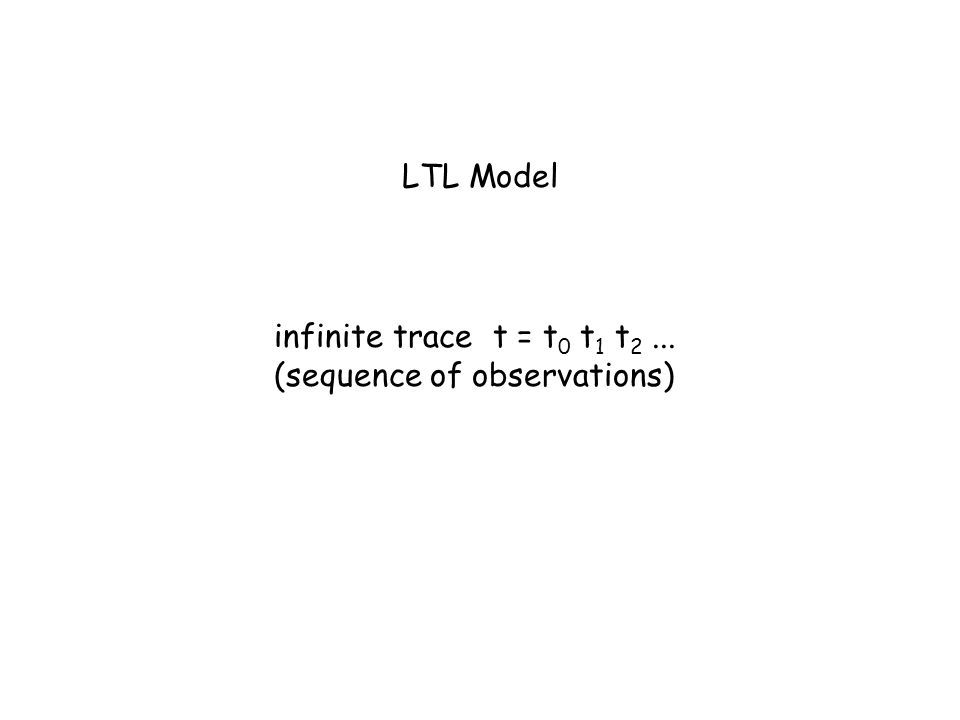 LTL Model infinite trace t = t0 t1 t2 ... (sequence of observations)