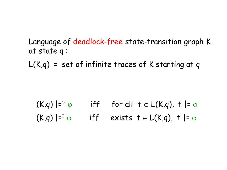 Language of deadlock-free state-transition graph K at state q :
